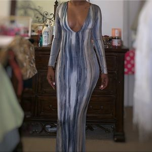 Fitted Deep Neck Maxi Dress
